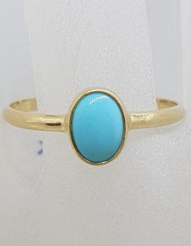 9ct Yellow Gold Natural Oval Turquoise Bezel Set in Ring
