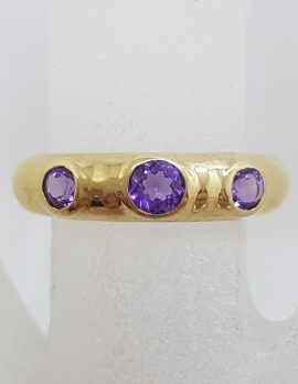 9ct Yellow Gold 3 Amethyst Bezel Set in Band Ring