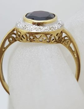 9ct Yellow Gold Large Oval Garnet surrounded by Diamonds Ring - Large Size