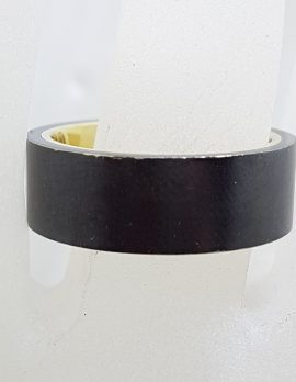 10ct Yellow Gold with Black Titanium Wide Wedding Band Ring - Ladies / Gents