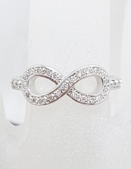 9ct White Gold Diamond Infinity Symbol Ring