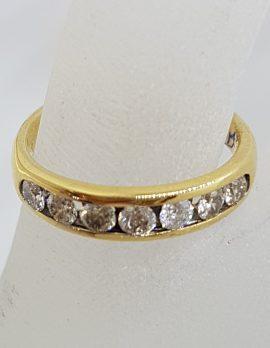 18ct Yellow Gold 7 Diamond Channel Set Eternity Ring / Wedding Band