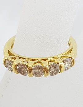 18ct Yellow Gold 5 Diamond Ornate Side Design Bridge Set Eternity Ring / Wedding Band