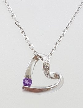 9ct White Gold Amethyst Heart Pendant on Gold Chain