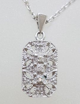 9ct White Gold Rectangular Ornate Diamond Pendant on Gold Chain