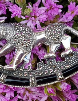 Sterling Silver Marcasite & Black Onyx Big Cat Brooch – Puma / Jaguar