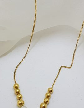 9ct Yellow Gold Pearl and Ball Necklace / Chain
