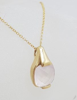 9ct Yellow Gold Square Rose Quartz Pendant on Gold Chain