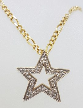 9ct Yellow Gold Diamond Star Pendant on Gold Chain