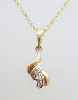 9ct Yellow Gold Diamond Twist Pendat on Gold Chain