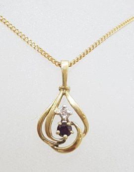 9ct Yellow Gold Sapphire & Diamond Pendant on Gold Chain