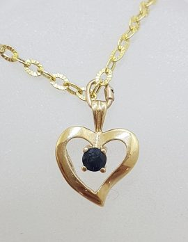 9ct Yellow Gold Heart with Sapphire Pendant on Gold Chain