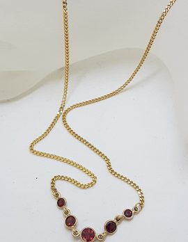 9ct Yellow Gold 6 Stone Garnet Necklace / Chain