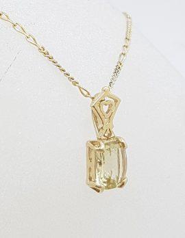 9ct Yellow Gold Rectangular Lemon Citrine Pendant on Gold Chain