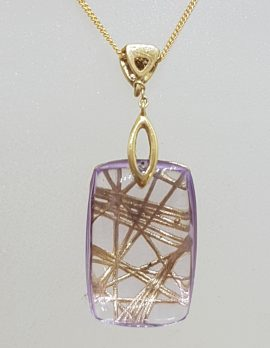 9ct Yellow Gold Diamond and Amethyst Unusual Rectangular Pendant on Gold Chain