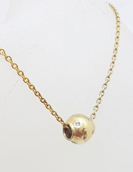 9ct Yellow Gold Diamond Ball Pendant on Gold Chain
