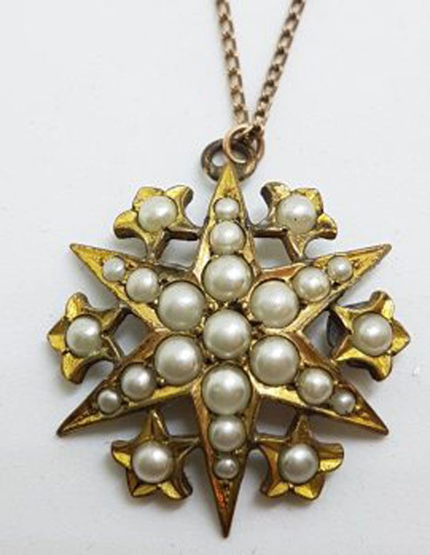 Lined / Plated Seedpearl Large Star Cluster Pendant on Chain - Antique / Vintage