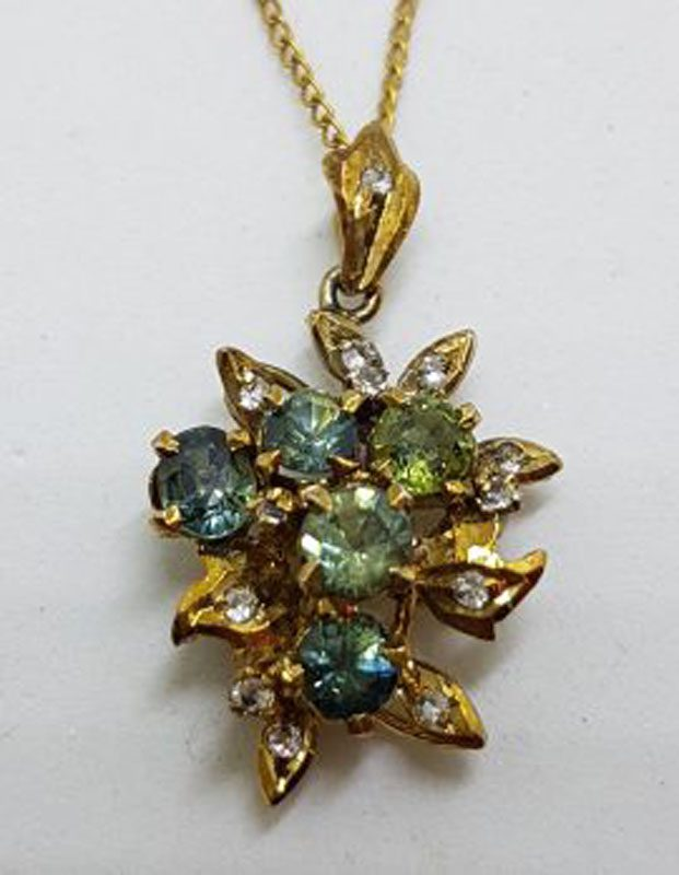 Plated Green Cluster Pendant on Chain - Antique / Vintage