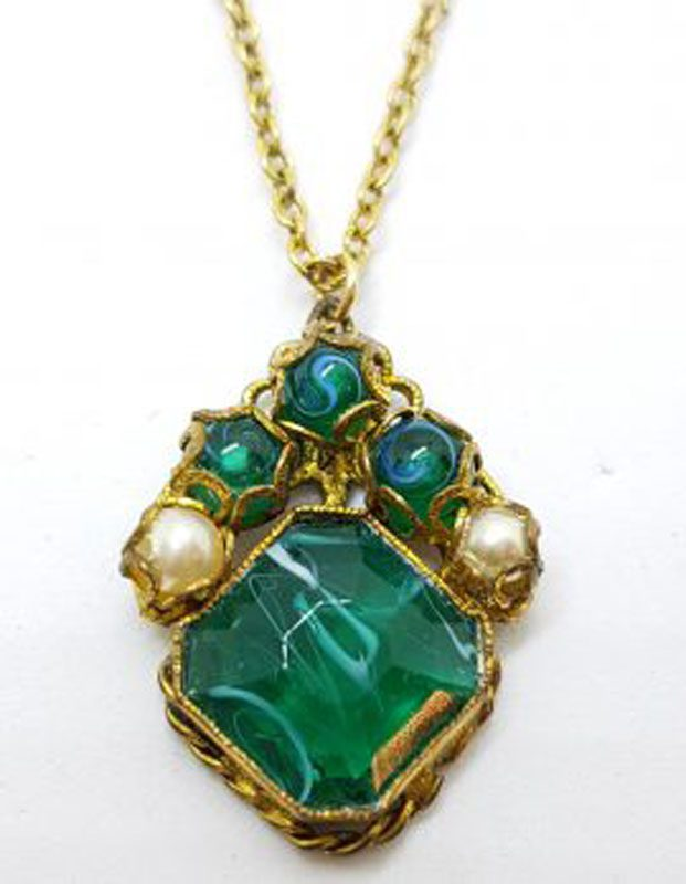 Plated Green and White Stone Cluster Pendant on Chain - Antique / Vintage
