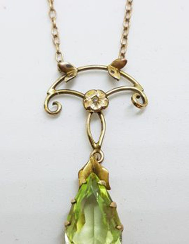 Plated / Lined Ornate Floral Green Stone Drop Necklace - Antique / Vintage