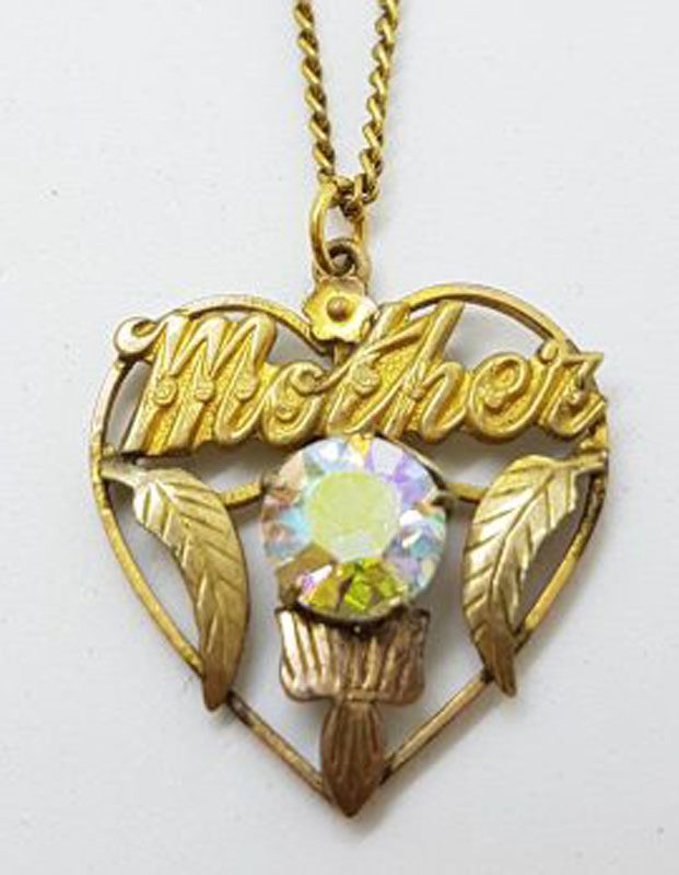 Plated / Lined Ornate Aurora Borealis Heart Pendant on Chain - Antique / Vintage