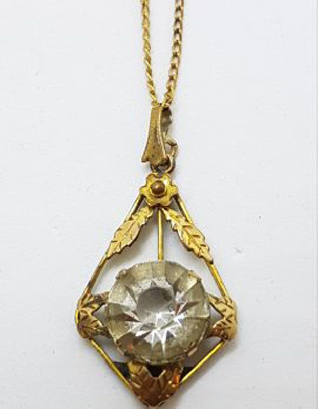Plated / Lined Ornate Round Clear Stone Pendant on Chain - Antique / Vintage