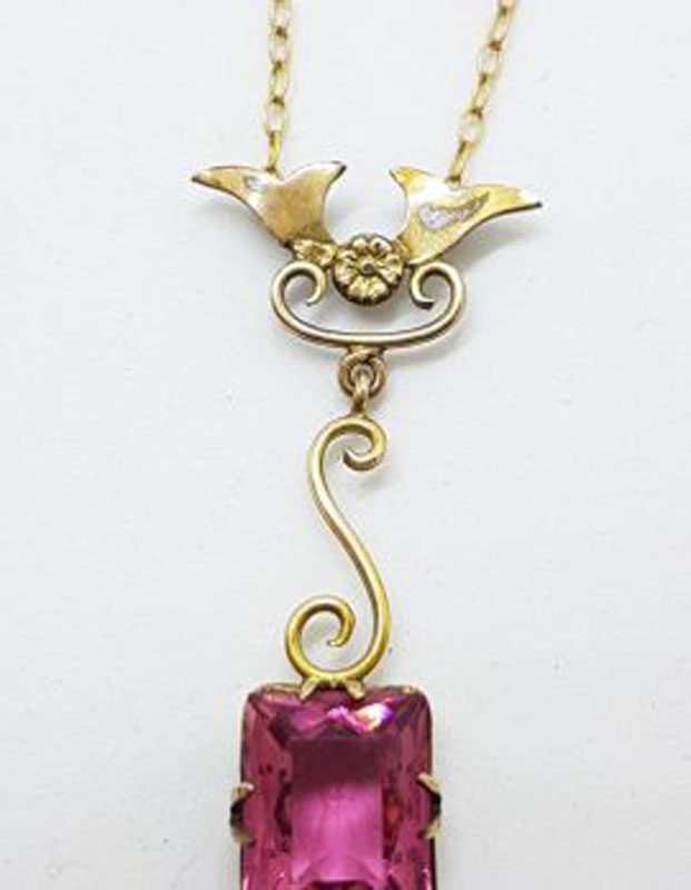Plated / Lined Ornate Rectangular Pink Stone Drop Pendant on Chain - Antique / Vintage
