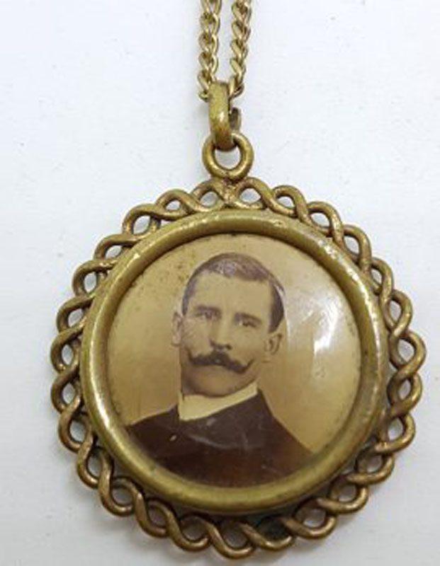 Lined / Plated Ornate Round Twist Design Locket Pendant on Chain - Antique / Vintage