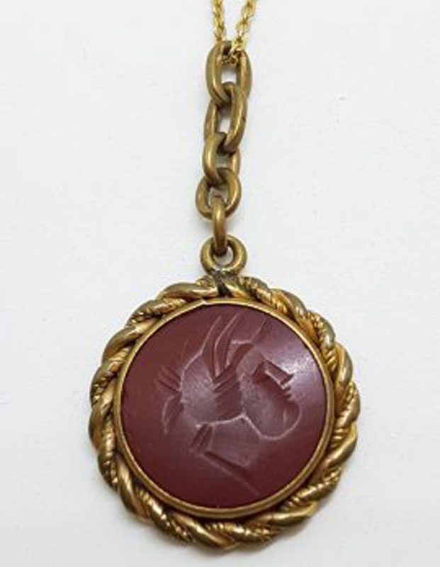 Lined / Plated Ornate Round Twist Seal Pendant on Chain - Antique / Vintage