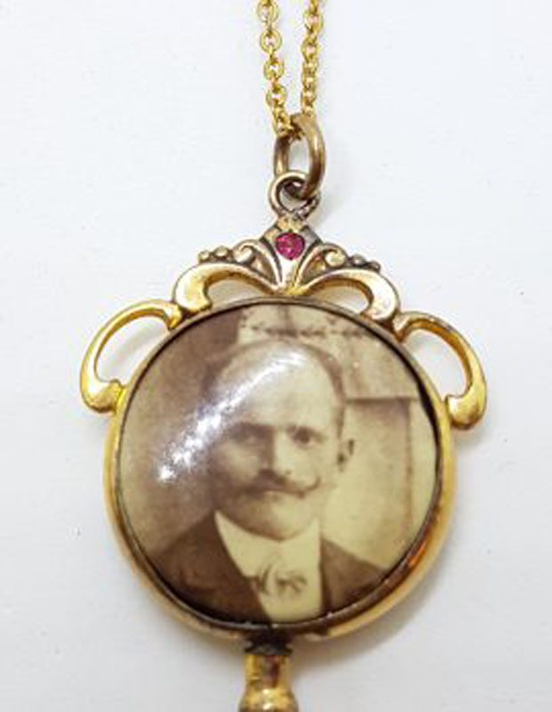 Lined / Plated Ornate Round Locket Pendant on Chain - Antique / Vintage