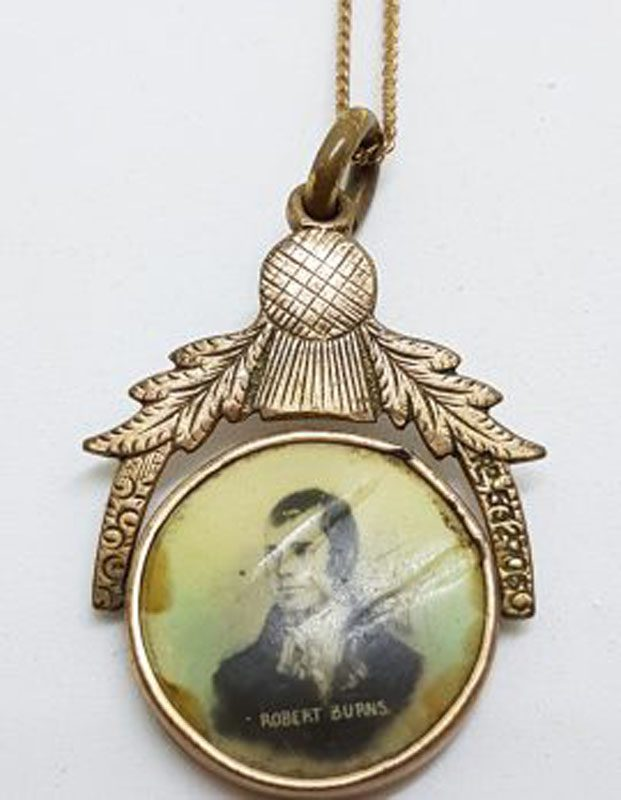 Plated / Lined Ornate Thistle Design Robbie Burns Pendant on Chain - Antique / Vintage