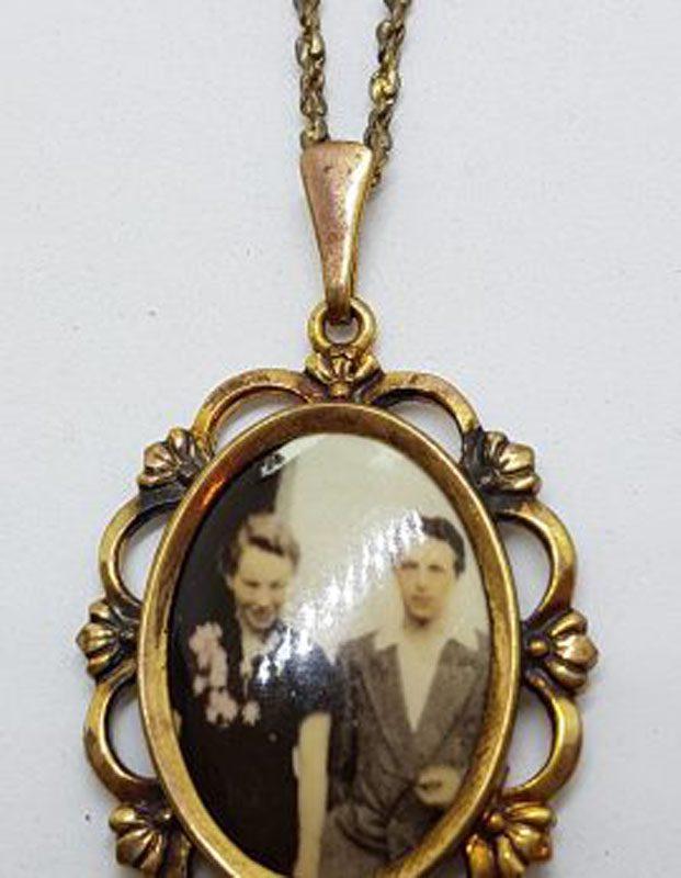 Vintage Plated Ornate Oval Locket Pendant on Chain