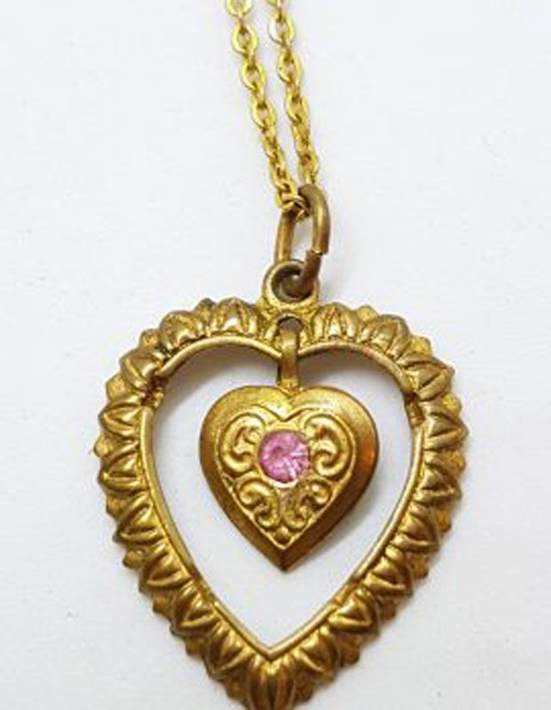 Plated Ornate Pink Heart Drop Pendant on Chain - Antique / Vintage