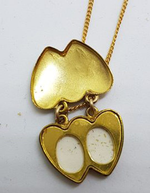 Lined / Plated Two Double Heart Locket Pendant on Chain - Antique / Vintage