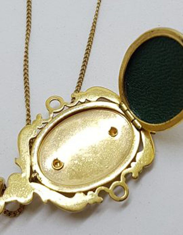Lined / Plated Ornate Floral Oval Locket Pendant on Chain - Antique / Vintage