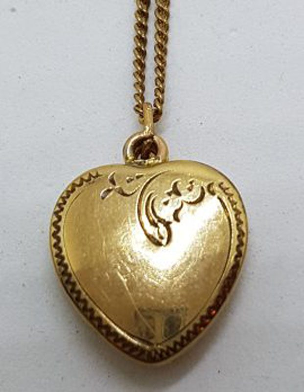 Lined / Plated Ornate Design Heart Locket Pendant on Chain - Antique / Vintage