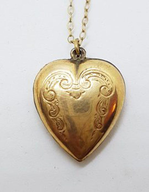 Lined / Plated Ornate Design Heart Drop Pendant on Chain - Antique / Vintage