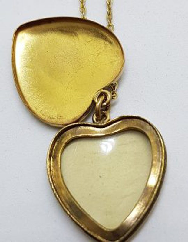 Lined / Plated Ornate Design Heart Locket Pendant on Chain – Antique / Vintage