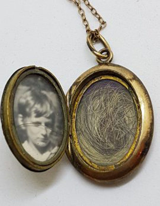 Lined / Plated Ornate Floral Oval with Black Enamel Mourning Locket Pendant on Chain - Antique / Vintage