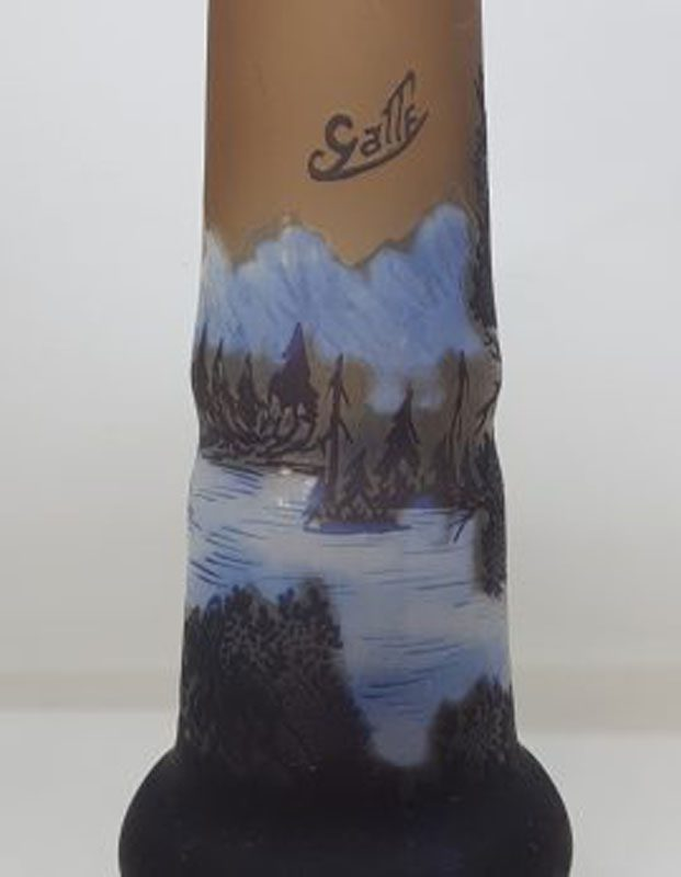 Emile Galle Inspired Glass Tall Vase with Stunning Landscape Scenery