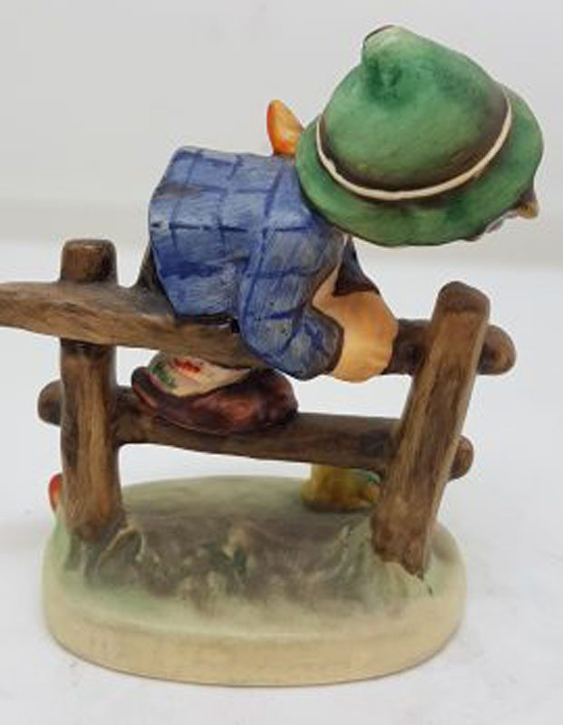 Vintage German Hummel Figurine - Retreat to Safety - Boy on Fence with Frog