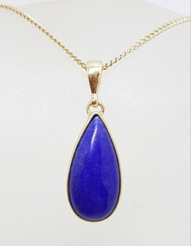 9ct Yellow Gold Lapis Lazuli Teardrop / Pear Shape Pendant on Gold Chain