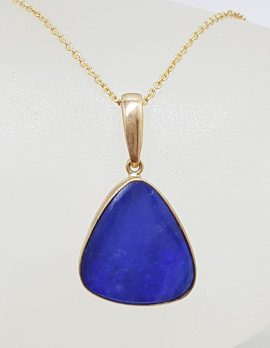 9ct Yellow Gold Triangular Blue Opal on Gold Chain