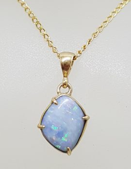 9ct Yellow Gold Unique Shape Opal Pendant on Gold Chain