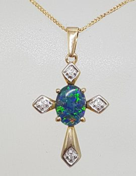 9ct Yellow Gold Opal & Diamond Cross / Crucifix Pendant on Gold Chain