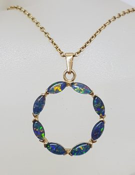 9ct Yellow Gold Opal Triplet Circular Ring Pendant on Gold Chain