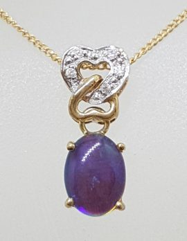9ct Yellow Gold Opal & Diamond Heart Pendant on Gold Chain