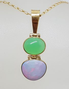9ct Gold Opal and Australian Jade / Chrysoprase Pendant on 9ct Chain
