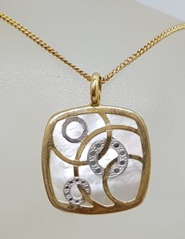 9ct Yellow Gold Mother of Pearl Square with Circles Pendant on Gold Chain