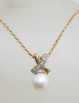 "9ct Yellow Gold Pearl & Diamond Kiss "" X "" Pendant on Gold Chain"